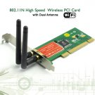 802.11N High Speed Wireless PCI Card w/ Dual Antenna