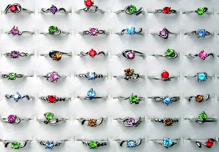 Wholesale Lot Of 50 18 KGP White Gold Gemstone Rings