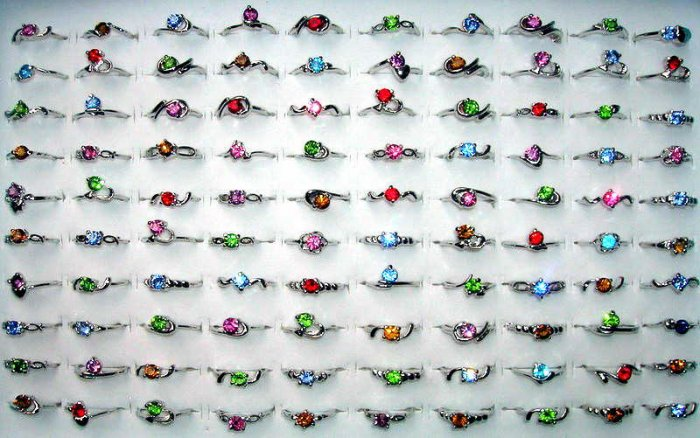 WHOLESALE LOT OF 100 18 KGP WHITE GOLD GEMSTONE RINGS