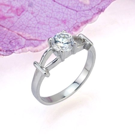 PRECIOUS DIAMOND 18 KGP WHITE GOLD PROMISE OR ENGAGEMENT RING SIZE 5**FREE SHIPPING**