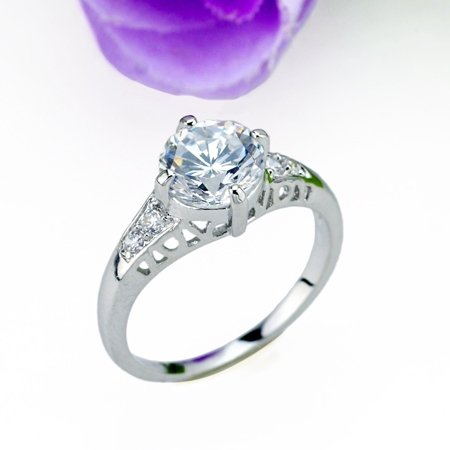 GLAMOUROUS 18 KGP REAL WHITE GOLD DIAMOND ENGAGEMENT RING SIZE 8**FREE SHIPPING**