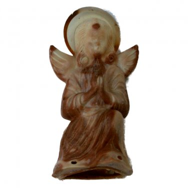 Vintage Celluloid Angel with Hard Plastic Halo Light Cover Christmas Figurine 3 Inches Dated 1945