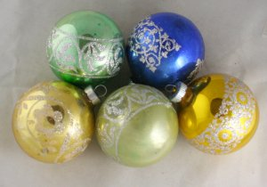 5 Shiny Brite Glass Ornaments-VINTAGE ORNAMENT-USA