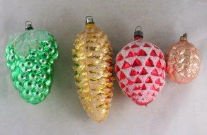 4 Pine Cone,Grape Ornaments-VINTAGE ORNAMENT-WGermany