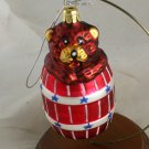 Bear in Barrel Patriotic Figural Ornament -NB No Marks