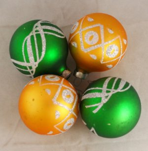 4  Glitter Decorated Satin Balls VINTAGE ORNAMENTS
