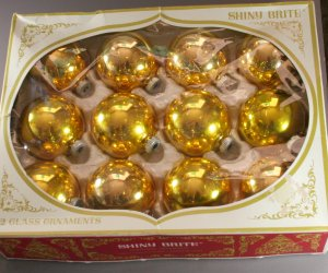 Shiny Brite 60/70s Gold Glass Ornaments VINTAGE OB