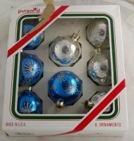 Pyramid Rauch 8 Glass Ornaments VINTAGE OB