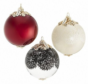 Jason Wu Neiman Marcus Holiday Ornament Set of 3 Elegant Designer Xmas Balls