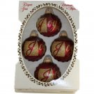 Christmas by Krebs Joy Red w/ Gold Glitter Ornament Set 2-5/8 Inch Glass Balls