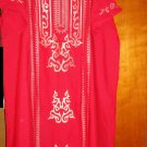 ABAYA Islamic Embroidered Caftan Katan Jilbab Dress red