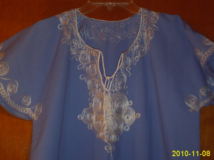FREE SHIPPING ABAYA Islamic Embroidered Caftan Katan Jilbab Dress blue