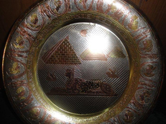 FREE SHIPPING Ancient Egypt Pharaoh 3PYRAMIDS  DECOR Bronze Plate