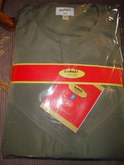 Free Shipping MEN GREEN Thobe Thoub Arab Jubba Dress Kurta Islamic Qamis