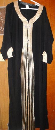Black abaya w scarf  w Golden strips on front & sleeves Abaya Caftan Katan Jilbab Dress