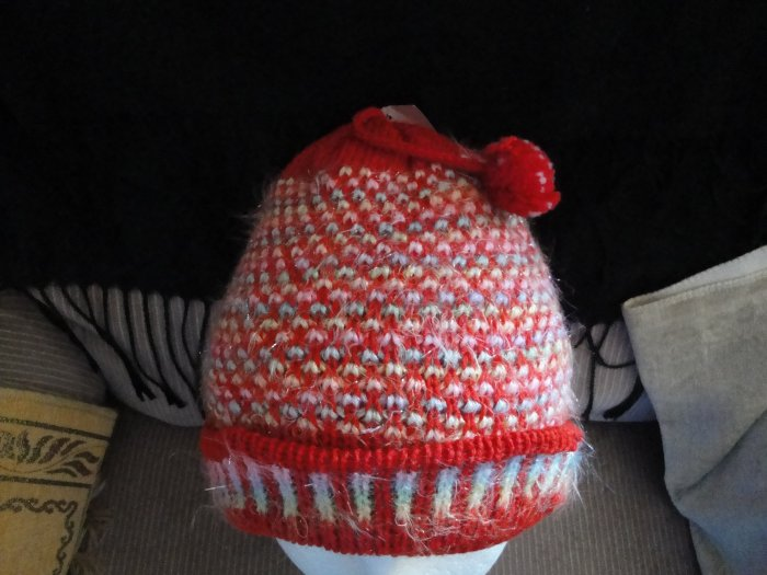 One Size Fashinable Girls Red & yellow Glittery Hat with 2 cutie balls