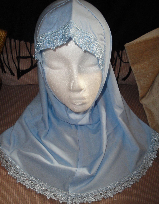 free shipping young girls cotton plain blue 1 pc Al amira style Hijab hejab underscarf