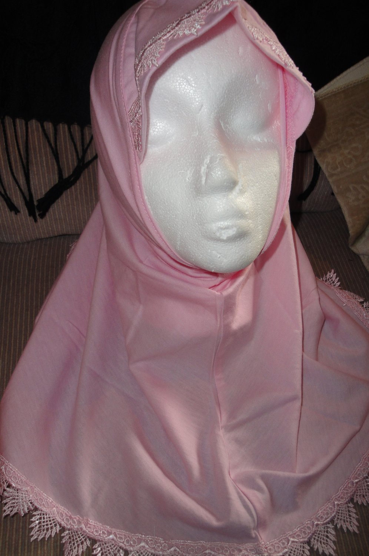 free shipping young girls cotton plain pink 1 pc Al amira style Hijab hejab underscarf