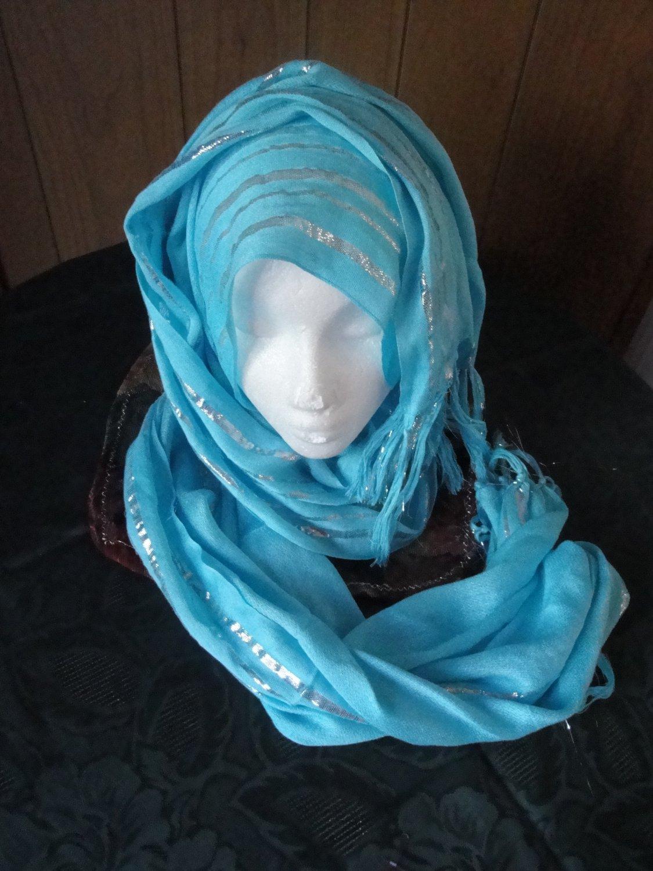 FREE SHIP SKY BLUE Long shayla hijab shawl scarf neck wrap abaya Glittery 30%COTTON AND 70% VESCOZE