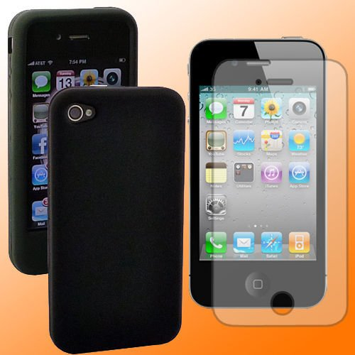 FREE SHIPPING Iphone 3g/3gs BLACK case+ free iphone Screen protecter & micro fiber cleaning Cloth