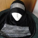 FREE SHIPPING 2 PIECE $ arm cover set long black glittery  HIJAB shawal islam scarf headcover hejab