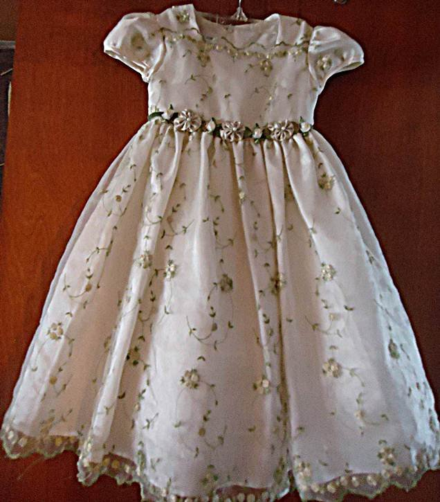 BONNIE JEAN GLITTERY IVORY ORGANZA Dressey Classic Floral girls dress 2T