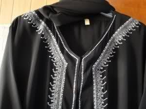 Princess XL Elegent Black Abaya w Scarf silver & strass