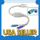USB to PS/2 Cable adapter for keyboard & PS2 mouse