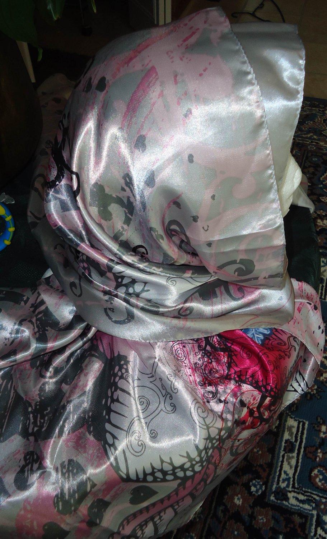 FREE SHIPPING white pink long shayla hijab shawl scarf neck wrap abaya