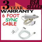 FREE SHIPPING 6FT USB Cable+AC Wall+Car Charger For iPhone 3GS 4G 3G