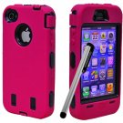 holiday gifts FS  Pen+Hot Pink Rugged Rubber Matte Hard Case Cover For iPhone 4G 4S + Screen Guard