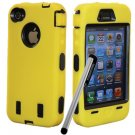 holiday gifts FS Pen+Yellow Rugged Rubber Matte Hard Case Cover For iPhone 4G 4S w/ Screen Guard