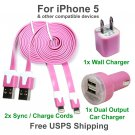 2 x Pink Charging Kits Flat Cords- Wall & Dual Port Car Chargers for iPhone 5