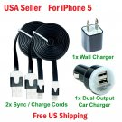 2 x blackCharging Kits Flat Cords- Wall & Dual Port Car Chargers for iPhone 5