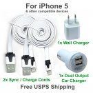 2 x white Charging Kits Flat Cords- Wall & Dual Port Car Chargers for iPhone 5