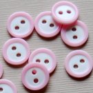 10 Small Baby Pink Round Sewing Buttons