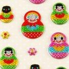 Kawaii Puffy Sticker Sheet - Matryoshka / Russian Dolls - From Japan