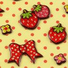 Kawaii Puffy Sticker Sheet - Strawberry, Hearts, Bows - From Japan