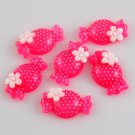 6 Pink Candy Resin Flatback - Glittery