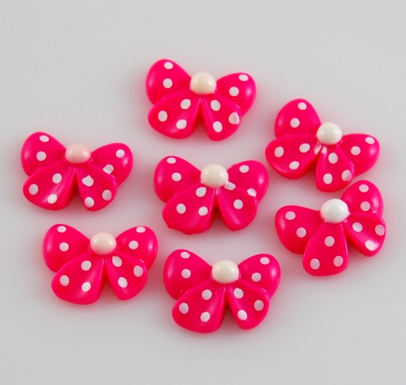 6 Hot Pink Bow Resin Flatback