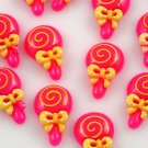 6 Pink Lollipop Resin Flatbacks