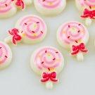 6 Kawaii White Lollipop Flatbacks