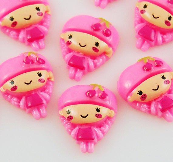 6 Pink Girl Resin Flatbacks