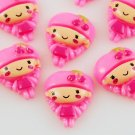 6 Pink Girl Resin Flatbacks