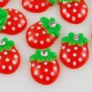 6 Red Strawberry Resin Flatbacks + Rhinestone