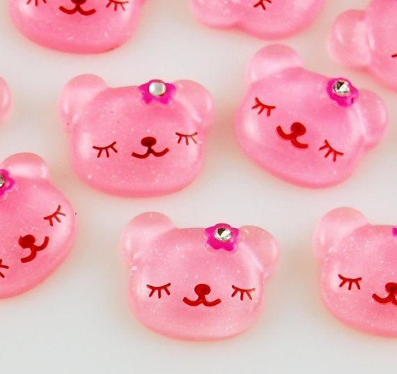 6 Pink Bear Resin Cabochons