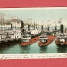 1906 BLOCKADE OF BOATS SAULT STE MARIE MICHIGAN COLOR POSTCARD
