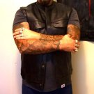 CLUB LEATHER BIKER VEST ROCKERS - OUTLAW SOA / SINISTER MOB / LAFFING DEVILS ie DEVILS RIDE SAMCRO