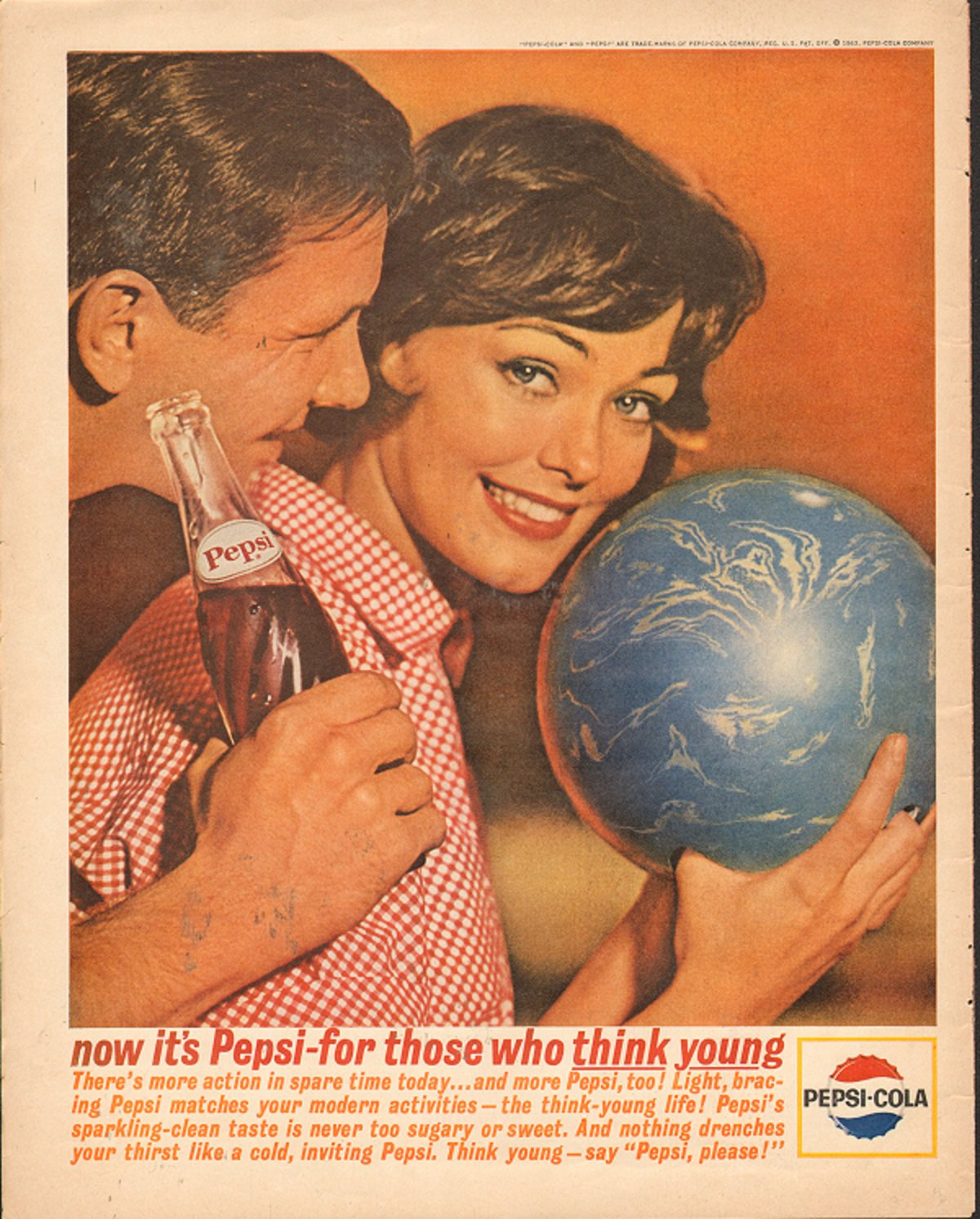 Pepsi Cola for those who think Young Vintage Ad Magazine Print AD 1963