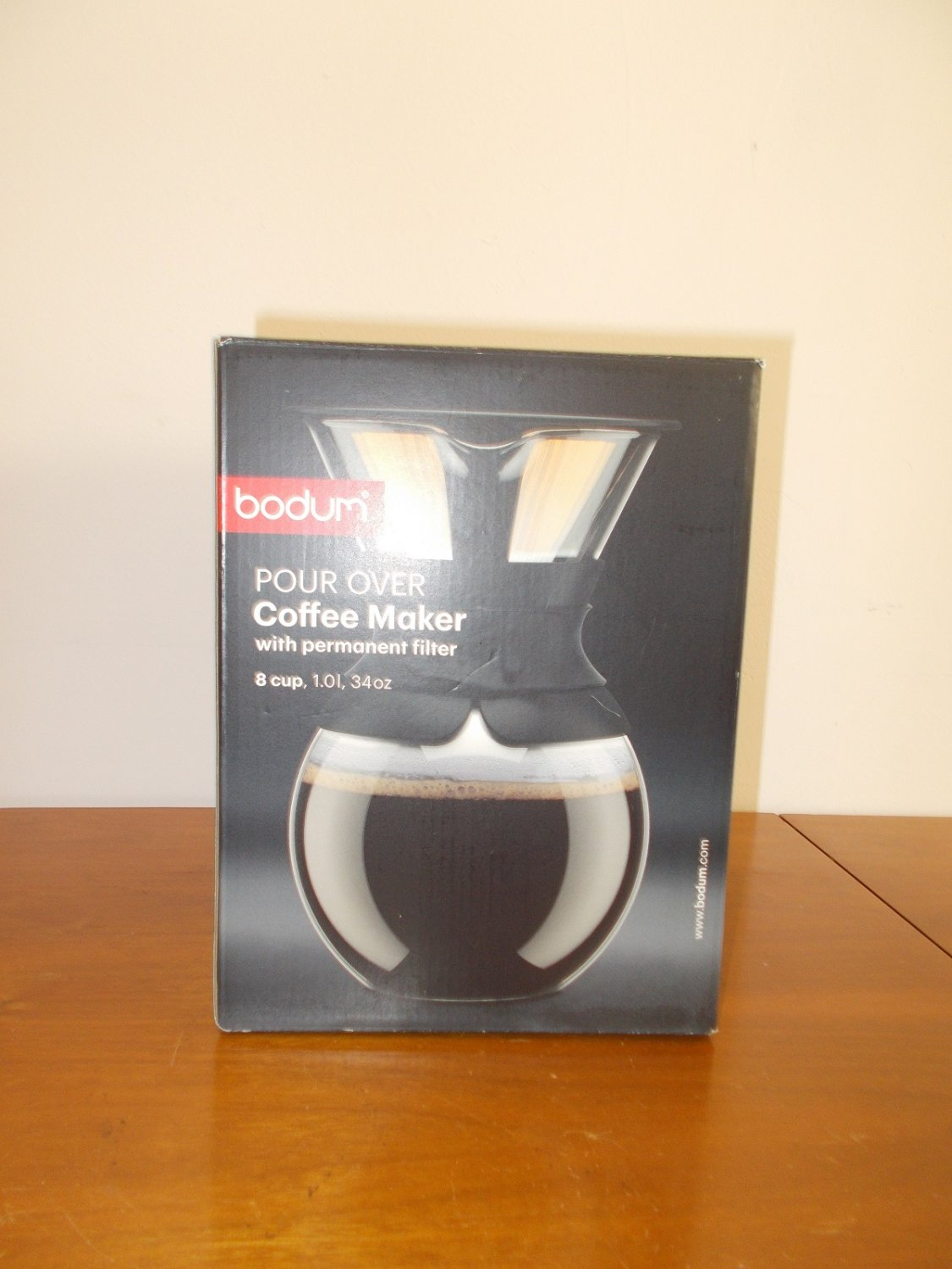 Black Bodum 11571-O1US Pour Over Coffee Maker with Permanent Filter, 34 oz